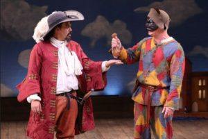 """Orlando Pabotoy and Steven Epp in """"Servant of Two Masters"""" at Theatre for a New Audience"""