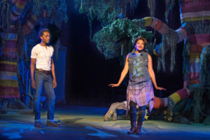 "Ato Blankson-Wood, left, as Orlando and Rebecca Naomi Jones as Rosalind in ""As You Like It."""
