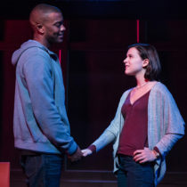 """Joshua Boone and Alexandra Boone in Manhattan Theatre Club's production of Anna Ziegler's """"Actually"""" at New York City Center."""