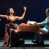 """Katrina Lenk and Tony Shalhoub in """"The Band's Visit"""" at the Ethel Barrymore Theatre."""