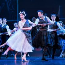"""Robbie Fairchild and company in Christopher Wheeldon's production of Lerner and Loewe's """"Brigadoon"""" at New York City Center."""