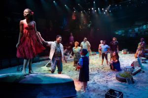 "The company of the Broadway revival of Ahrens and Flaherty's ""Once on this Island"" at Circle in the Square Theatre."