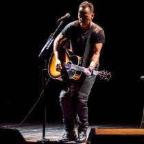 "Bruce Springsteen performs in his musical memoir ""Springsteen on Broadway"" at the Walter Kerr Theatre."