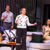 """Amy Schumer and the cast of Steve Martin's """"Meteor Shower"""" at the Booth Theatre."""