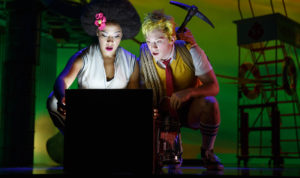 "Lilli Cooper and Ethan Slater in ""Spongebob Squarepants"" at the Palace Theatre."