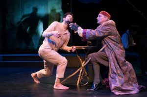 """Robbie Fairchild and Rocco Sisto in Ensemble for the Romantic Century's """"Mary Shelley's Frankenstein"""" at the Pershing Signature Center."""