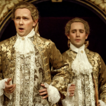 "Iestyn Davies and Sam Crane in Claire van Kampen's ""Farinelli and the King"" at the Belasco Theatre."