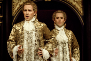 """Iestyn Davies and Sam Crane in Claire van Kampen's """"Farinelli and the King"""" at the Belasco Theatre."""