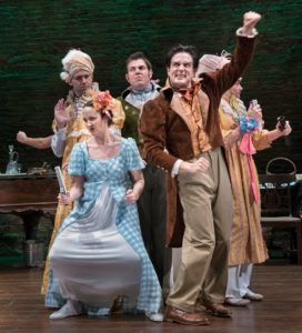 "The cast of Primary Stages' production of Kate Hamill's adaptation of ""Pride and Prejudice"" at the Cherry Lane Theatre."