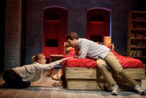 """Anna Chlumsky and Adam Pally in Greg Pierce's """"Cardinal"""" at Second Stage Theatre."""