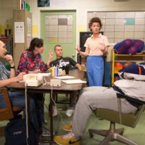 "The company of The Mad Ones' ""Miles for Mary"", originally staged The Bushwick Starr, at Playwrights Horizons."