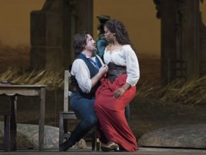 "Matthew Polenzani and Pretty Yende in Donizetti's ""L'Elisir d'Amore"" at the Metropolitan Opera."