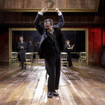 "Douglas Hodge (front), John Glover, and Marin Mazzie in Terrence McNally's ""Fire and Air"" at Classic Stage Company."