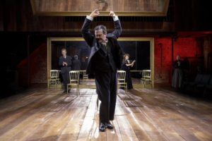"""Douglas Hodge (front), John Glover, and Marin Mazzie in Terrence McNally's """"Fire and Air"""" at Classic Stage Company."""